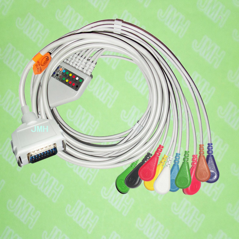 Compatible with 15 pin Fukuda,Customed,Bosch EKG monitor Machine,One-piece 10 lead ECG cable and Snap leadwires,IEC or AHA. 10 lead ecg ekg cable for zoll 8000 1007 02 aha snap connector