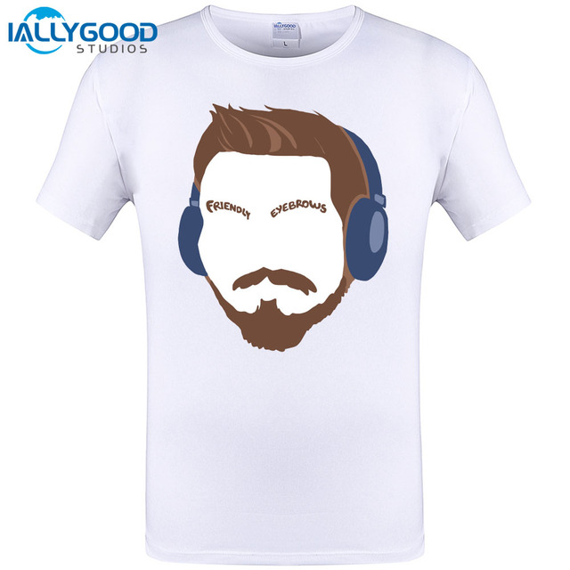 2017 New Fashion Cartoon Dj Friendly Eyebrows Design T Shirt Brand