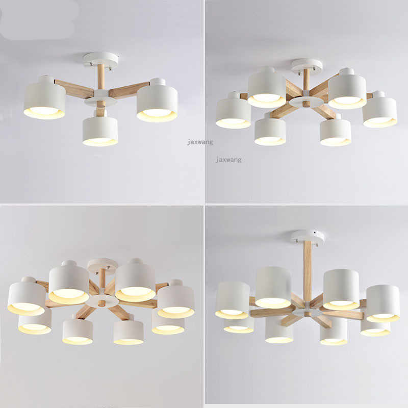 Modern Lamp LED Lights Decoration Wood Chandeliers Dining Room Loft Bedroom Living Room Kitchen Light Chandelier Lighting