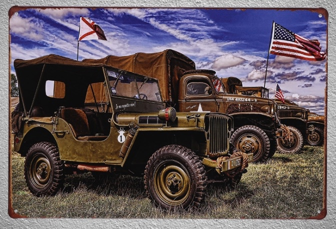 1pc War Car truck jeeper Tin Plate Sign wall man cave Decoration Man cave Art Poster metal vintage in Plaques Signs from Home Garden