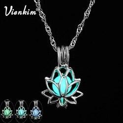 Vienkim Fashion Buddhist Lotus Luminous Pendant 3 Colors Charm Pendant Glowing Stone Dark Statement Necklace Party Jewelry Yoga
