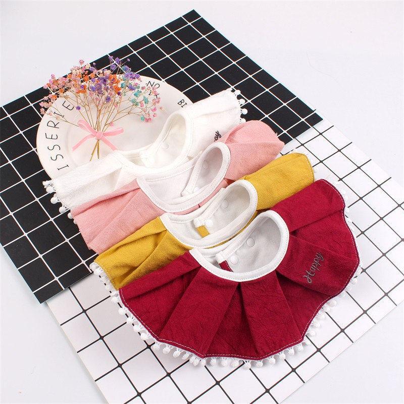360 Degree Baby Cotton Bib Fashion Ruffles Girl Burp Cloths Fake Collar Infant Toddler Saliva Towel Bib Highly Absorbent Soft (2)