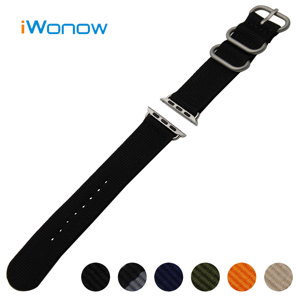 Nylon Watchband for 38mm 42mm iWatch Apple Watch / Sport / Edition Zulu Band Fabric Strap Wrist Belt Bracelet + Adapters canvas sport apple watch belt nylon 42mm apple watch strap watchband for iwatch apple watch with adapter