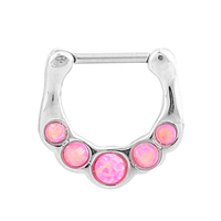 1Pc Fake Nose Piercing Septum Clicker Ring Stainless Steel Solid Color Single Faux Synthetic Opal Hanger