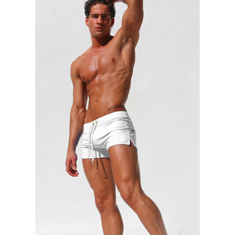 New Men Beach Shorts Solid Leisure Beach Pants Swimwear Briefs Swim Suits Boxer Shorts Mens Back Zip Pocket Trunks C1549