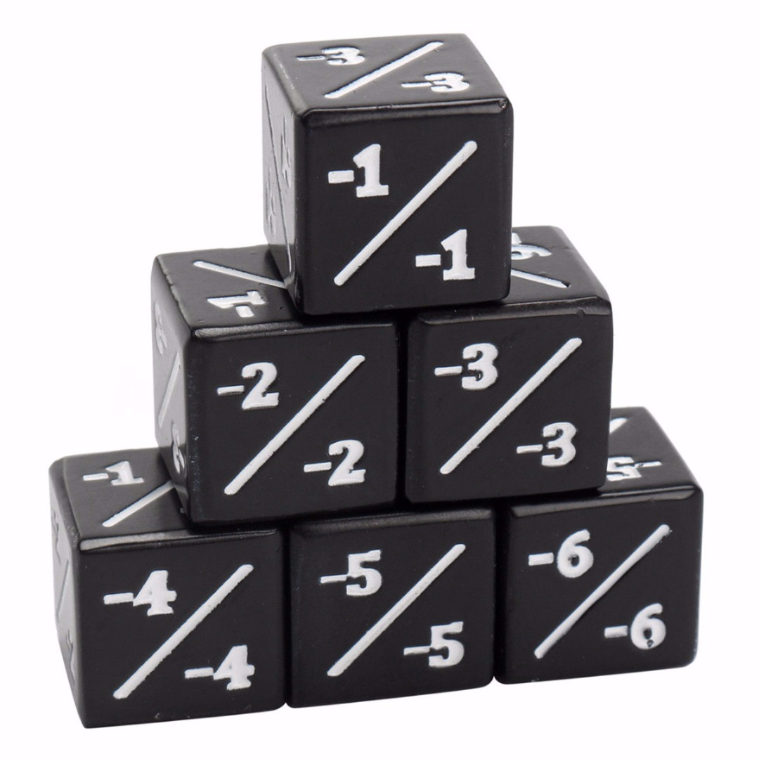 5pcs Negative -1/-1 Black Dice Counters For Magic The Gathering MTG Games Interesting Outdoor School Activities Gaming Dice