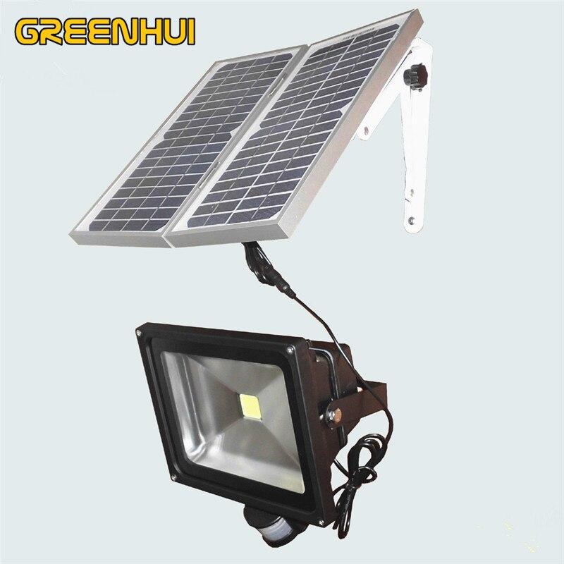 Lampes solaires 50 W COB puce LED lumières lumière blanche fraîche extérieure LED solaire lumières d'inondation s'envolent lampes de jardin avec capteur de mouvement PIR
