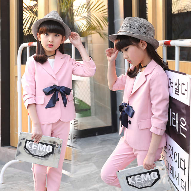 eb6310a702bbb Children girls clothing set 2018 spring teenage girls suit bow-knot  jacket+pants school kids clothes tracksuit for girls clothes
