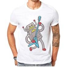 цена на 2019 Summer New Fashion Rock N Roll Men T shirt Short Sleeve Breathable 100% Cotton Robot Cartoon Print White T-shirt For Mens