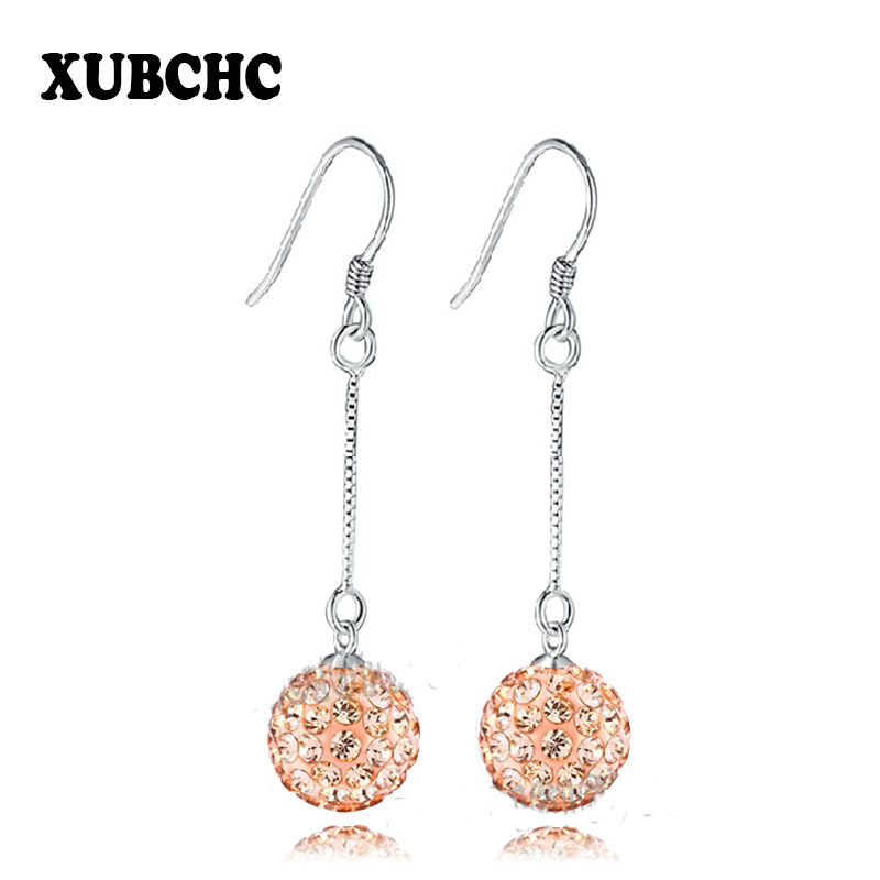 Free Shipping 16 Color Trendy Zinc Alloy Long Box Chain Dangle Earrings 8A Bead Crystal Earrings For Women Fashion Jewelry 10MM