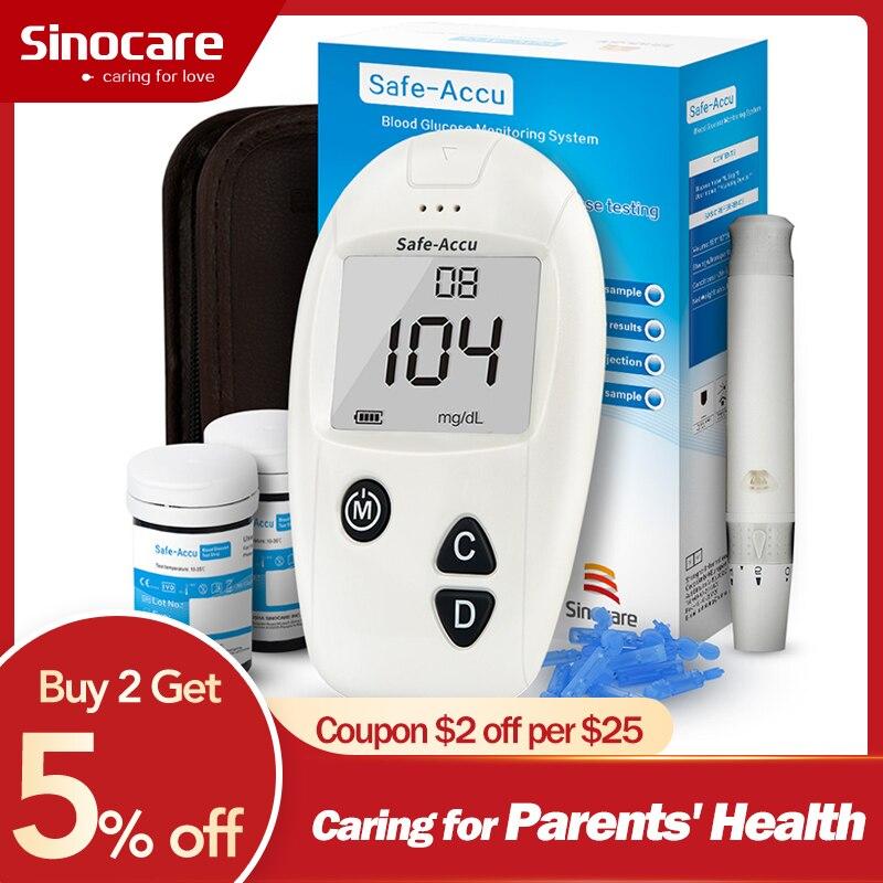 SINOCARE Glucometer Safe-Accu Blood Glucose Meter With Test Strips Lancets Medical Blood Sugar Meter Diabetes Test
