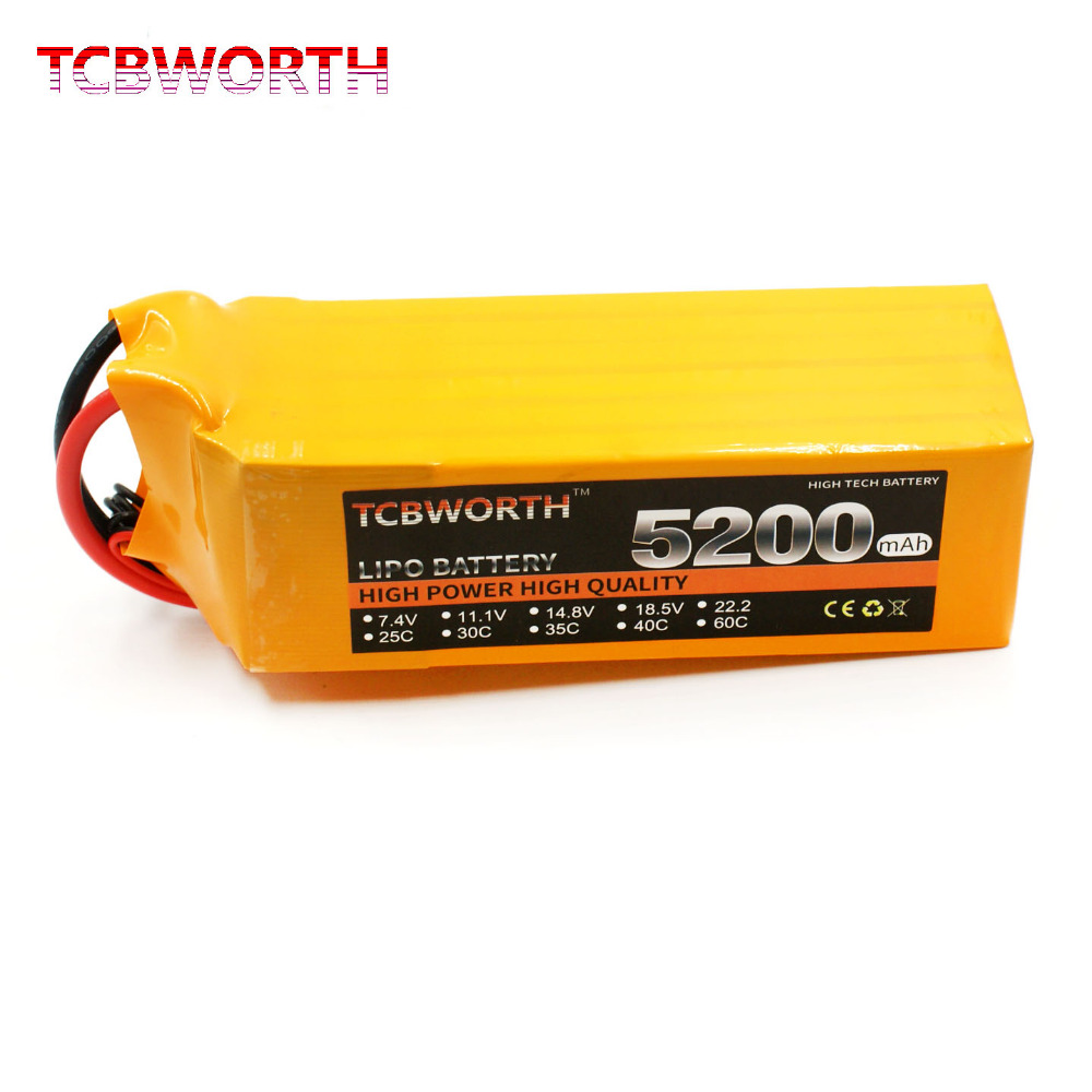 TCBWORTH RC LiPo Battery 6S 22.2V 5200mAh 40C 80C Li poly batterries 6S for RC model airplane car boat drone rechargeable AKKU