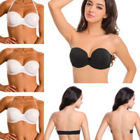 Black White Nude Invisible Clear Back Strapless Bralette Push Up 2 Breasted E F Bras Multiway