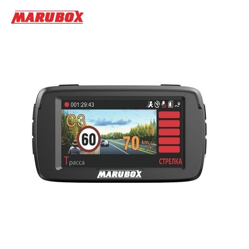 Marubox M600R coche dvr radar detector gps 3 en 1 HD1296P 170 grado ángulo ruso grabadora de vídeo registrador envío gratuito