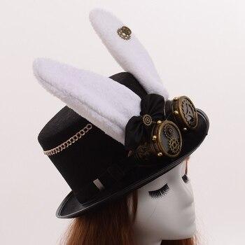 Шляпа в стиле стимпанк с очками кролик 1