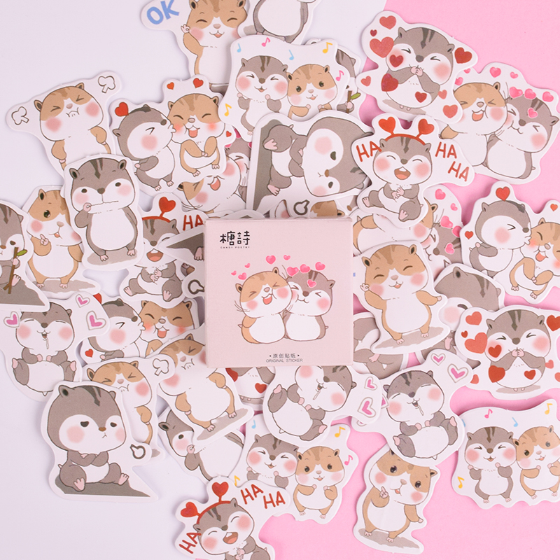 45 Pcs/box Cute animals cartoon Hamster mini paper sticker decoration decal diy album scrapbooking seal sticker kawaii45 Pcs/box Cute animals cartoon Hamster mini paper sticker decoration decal diy album scrapbooking seal sticker kawaii