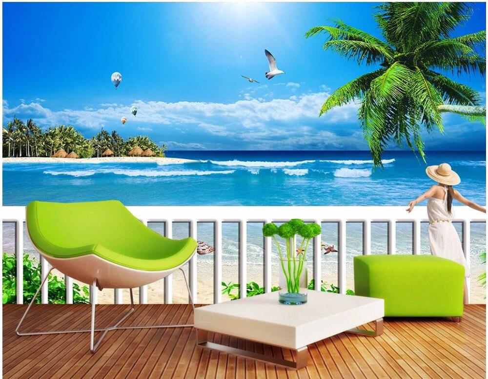 Custom 3 D Photo Wallpaper Wall Murals 3d Wallpaper Beach: Custom Photo Mural 3d Wallpaper Beach Beach Beauty Back