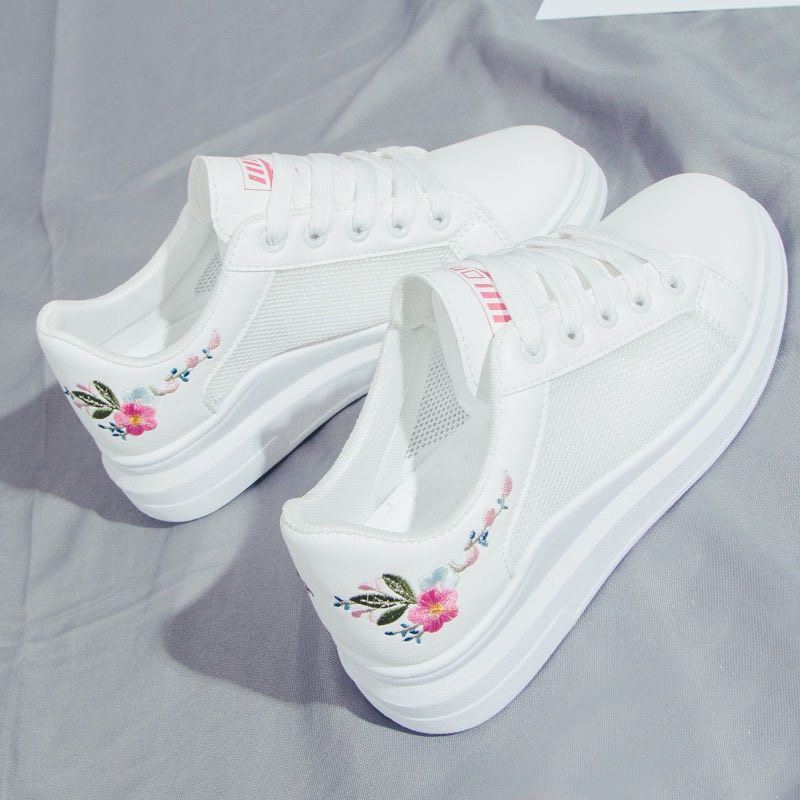 New Designer Shoes Woman Wedges Platform Sneakers Lace-Up Breathable Feminino Casual Chunky Sneakers Ladies Zapatos Mujer 35-43