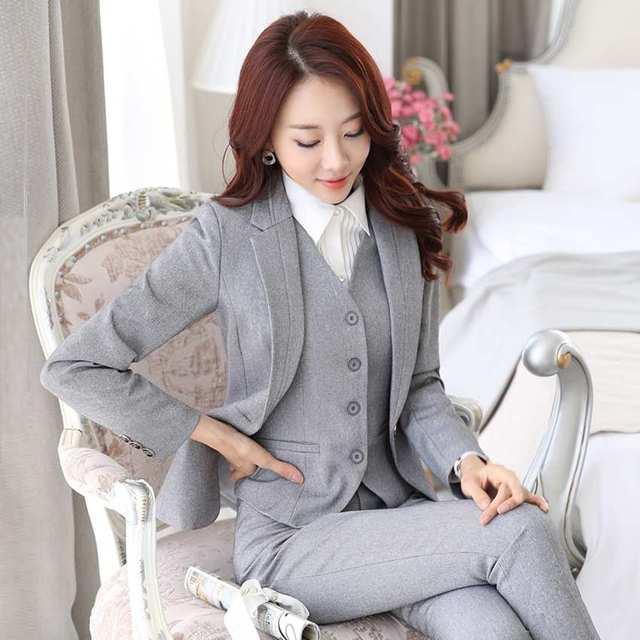 MARCA Set Traje de Las Señoras de la Oficina Work Wear ropa ol trajes Femeninos Formales Blazer Establece Uniforme Uniforme traje collar de lazo 101