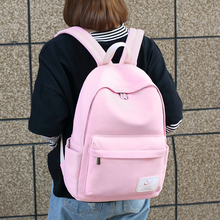 Canvas backpack simple student bag solid color backpack junior high school student leisure travel bag simple fresh design pure color oxford women backpack fashion girls leisure bag school student book bag waterpoof travel bag