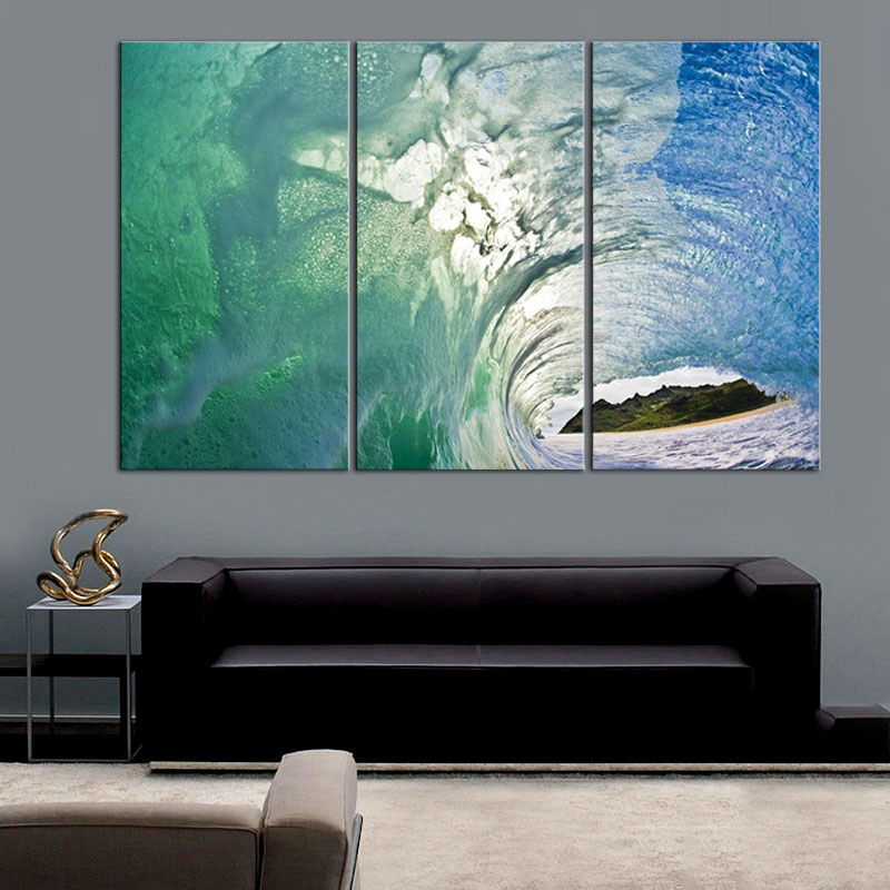 3 pcs set seascape with island canvas print painting beautiful blue sea wave wall art picture. Black Bedroom Furniture Sets. Home Design Ideas