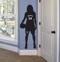 Girls Basketball Gifts Personalized Name and Number Decor Wall Sticke Female Bedroom Decal Art NY-21