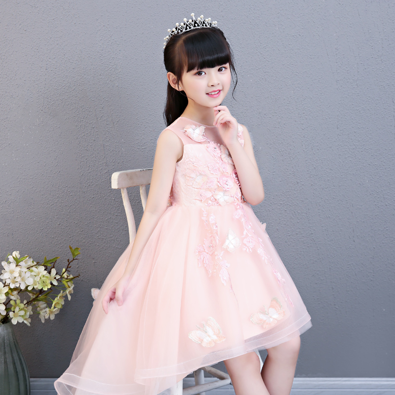 2018 Summer New Children Toddler Infant Pink Color Birthday Wedding Party Front Short Back Long Twil Prom Dress Kids Girls Dress
