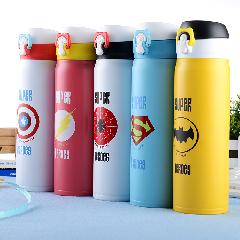 Avengers League Vacuum Flask Thermos 304 Stainless Steel Spiderman Captain Batman Superman Flashing Business Insulated Portable