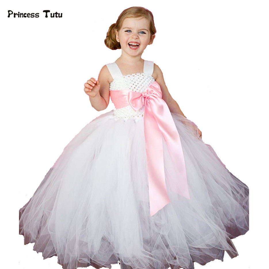 Ribbon Bow Flower Girl Dresses White Girls Wedding Dress Costumes Baby Kids Birthday Party Tutu Dress Tulle Children Ball Gown lovely rainbow tutu dress girls kids flower girl dresses tulle princess dress costumes children party birthday wedding gowns