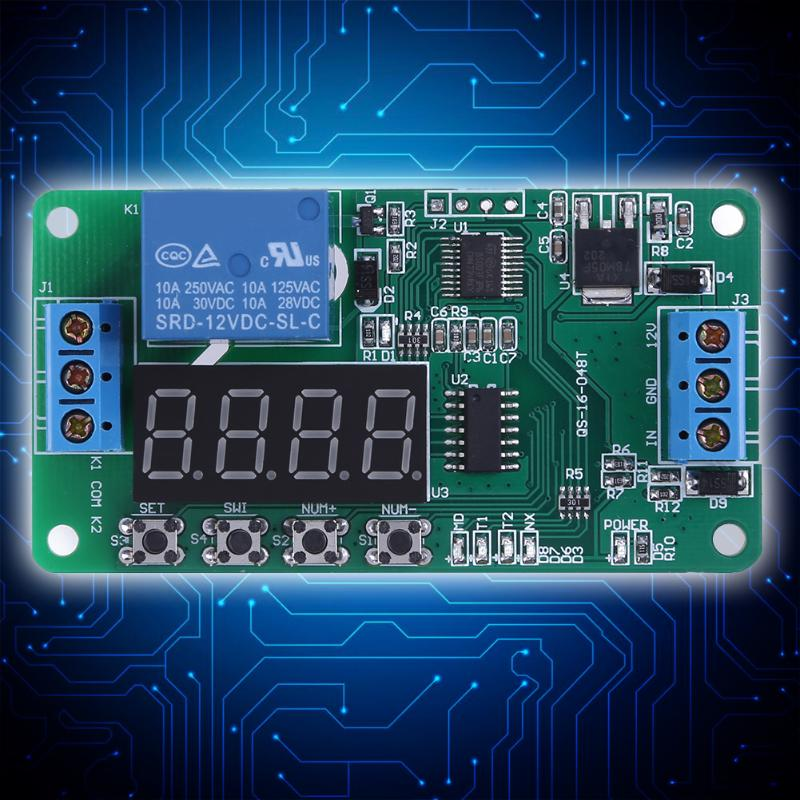 DC12V Multifunction Self-lock Relay PLC Cycle Timer Module Delay Time Switch Board Converter Electrical Equipment & Supplies 1pc multifunction self lock relay dc 5v plc cycle timer module delay time relay