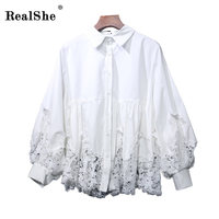 RealShe 2018 High Quality Fashion Womens Latern Sleeve Shirt Turn Down Collar Casual Loose Female Lace