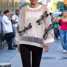 Новая летняя футболка черного белого цвета с длинными рукавами и изображением стрекозы; уникальная одежда для девочек; стильная футболка; большие размеры