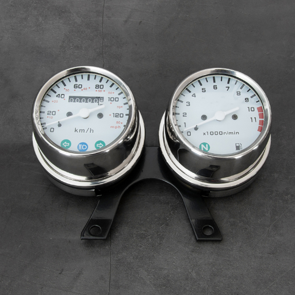 Cafe Racer Retro Motorcycle Modified Stainless Steel Meter Dual Table Odometer Tachometer Table Meter