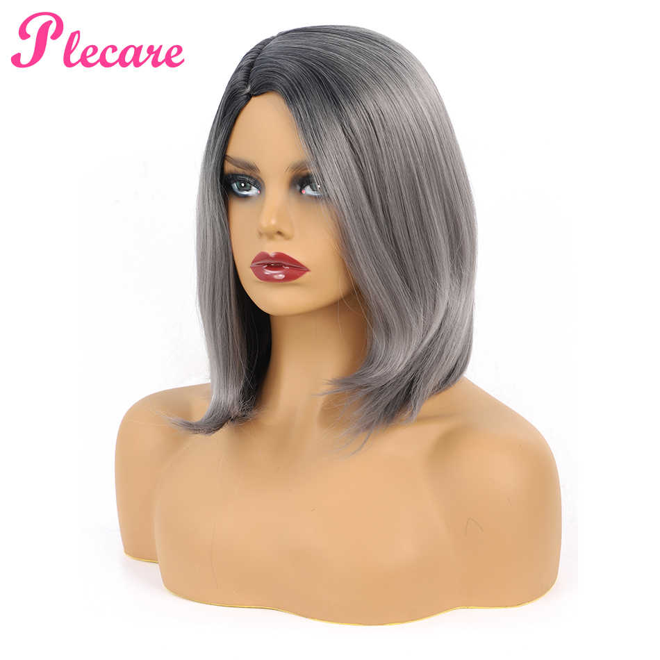 Plecare Ombre Gray Bob Straight Wigs Synthetic Pruiken Wig For Black/White Women Short Cosplay Wigs Heat Resistant Fiber Hair