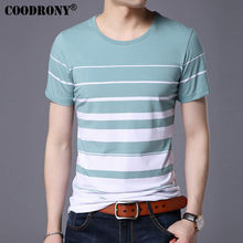 COODRONY Pure Cotton Short Sleeve T-Shirt Men Brand Clothing Spring Summer New Fashion Striped Print O-Neck T-Shirt