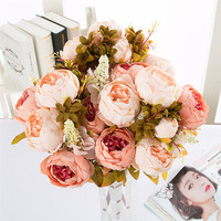 Artificial Flowers Silk Flower European Fall Vivid Peony Fake Leaf Wedding Home Party Decoration