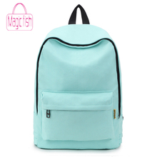 2019 Canvas Pure Color Backpack Fashion Adolescent Girl Back