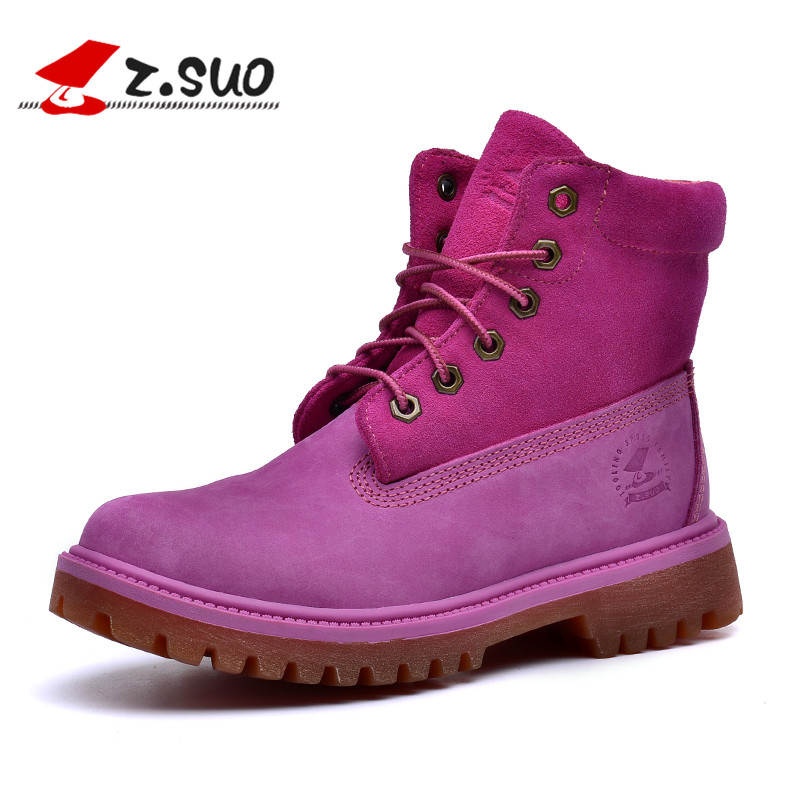 Z.Suo Brand Genuine Leather Winter Boots Women Fashion Outdoor Ankle Boots Leather Winter Shoe Women Casual Pink Martin Boots недорго, оригинальная цена