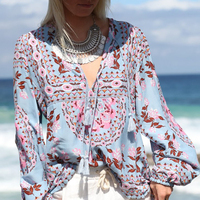 Floral Boho Blouse Top 2017 Autumn Long Sleeve V Neck Tassel Lace Tied Up Cotton Ethnic