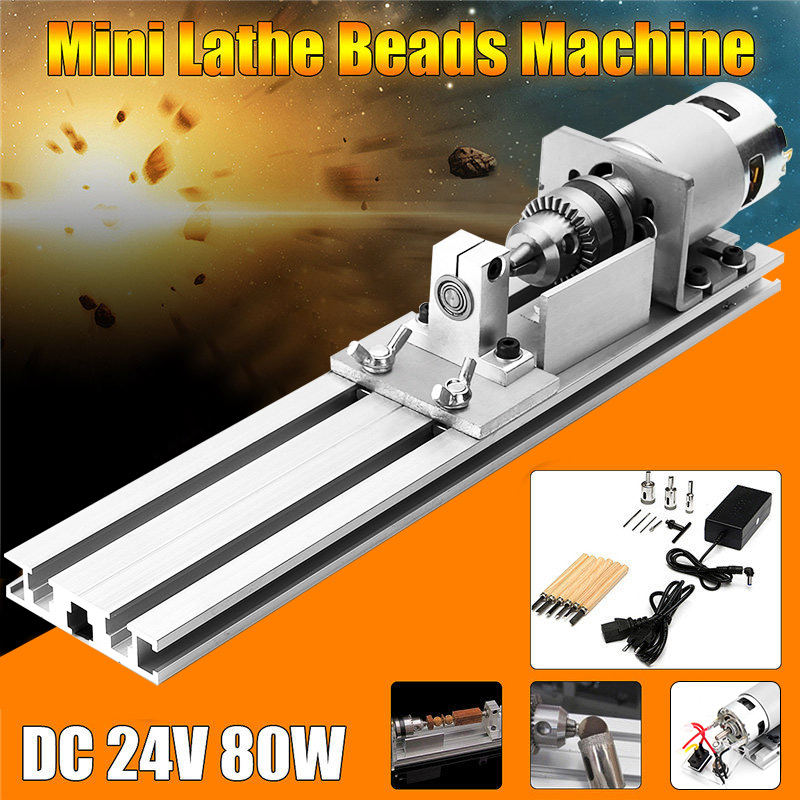 New 80W DC 24V Mini Lathe Beads Machine Woodworking DIY Lathe Standard Set Polishing Cutting Drill Rotary Tool with Power Supply dc 3v 24v mini electric hand drill rotary tool diy 385 motor w 24v power supply g205m best quality