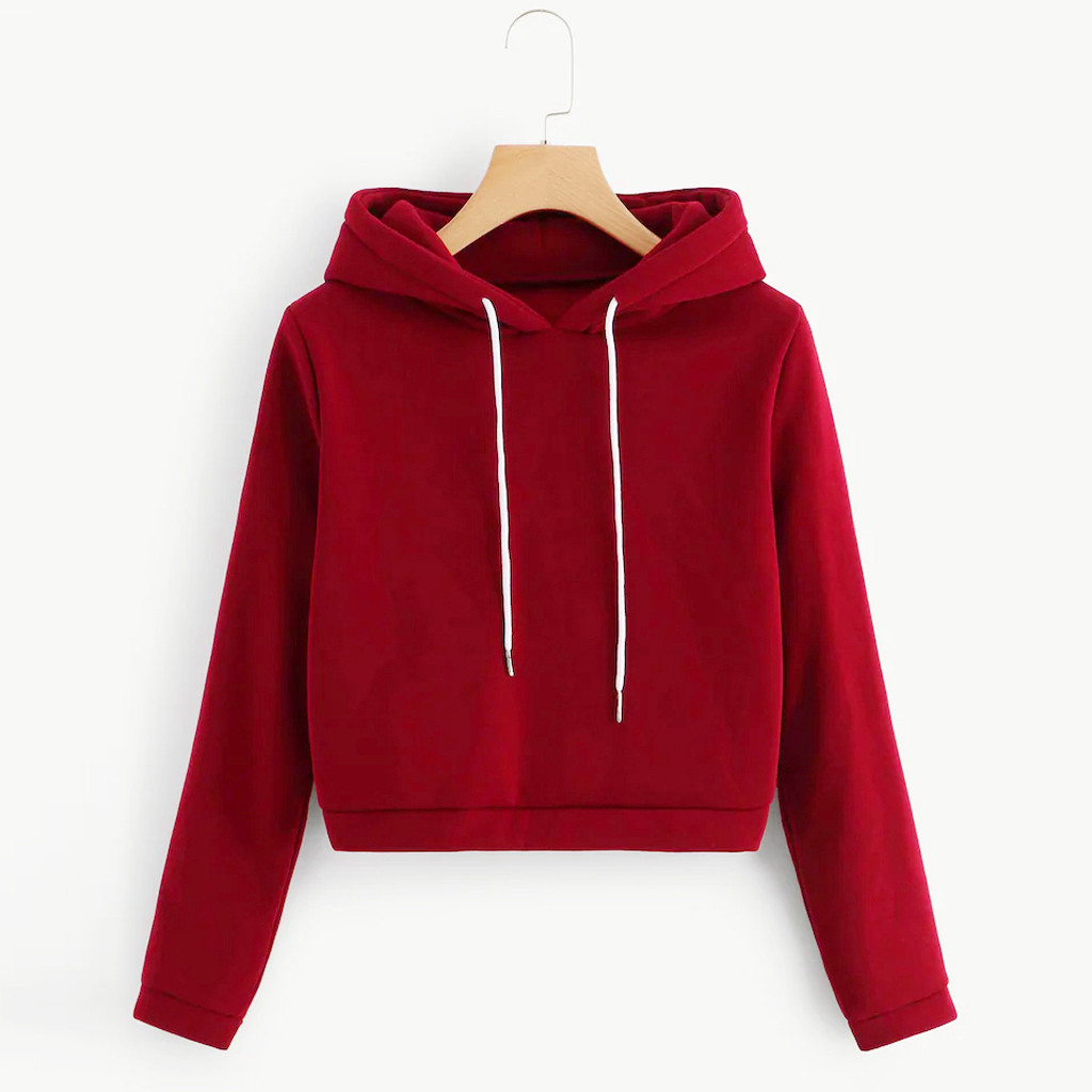 Women Autumn Harajuku Crop Tops Red Hoodies Casual Long Sleeve Sweatshirt Hooded Top Pullover Sweatshirt Women Hoodies 2019