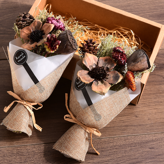 Fashion Artificial Flowers Creative Hand Made Gift Box Dried Flowers ...