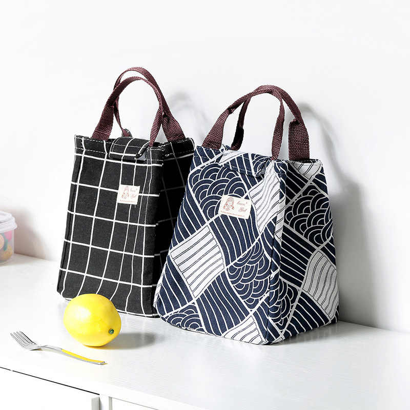 Lattice Print Lunch Bag Portable Cooler Insulated Picnic Bento Tote Travel Fruit Drink Food Fresh Organizer Accessories Supplies