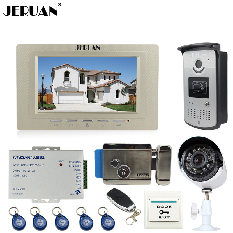 JERUAN Wired 7 inch LCD Video Door Phone intercom System kit RFID Access IR Camera + Metal 700TVL Analog Camera +remote control jeruan home 7 video door phone intercom system kit 1 white monitor metal 700tvl ir pinhole camera rfid access control in stock