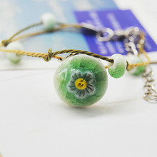 Original vintage simple Ceramics Flowers Girls Bracelet PU Leather cute Lover Lovers Lucky Jewelry Women Gift