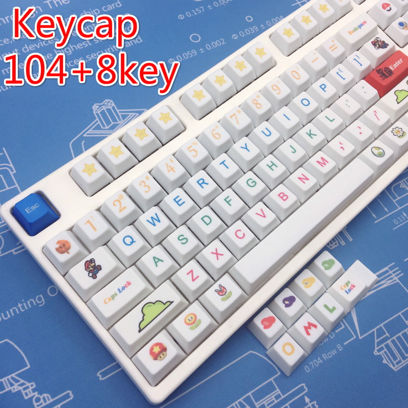 Dye Sublimation Keyboard PBT Mario Theme Høyde For Computer Gaming Keycap Cherry