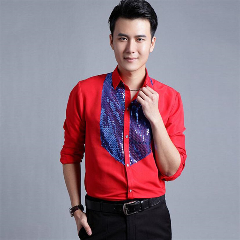 2018 new Mens glittering sequined shirt shirt stage performance clothing dance gala hosted chorus Shirts high quality size 4XL