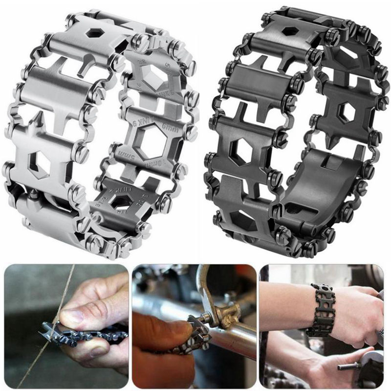 29 en 1 Multi outils Bracelets multifonction réparation Bracelet acier inoxydable tournevis clé vélo Camping trousse durgence