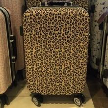 2016 New maletas men Leopard Print travel luggage bags women suitcase universal wheels trolley rolling bag lock Mute 20 24
