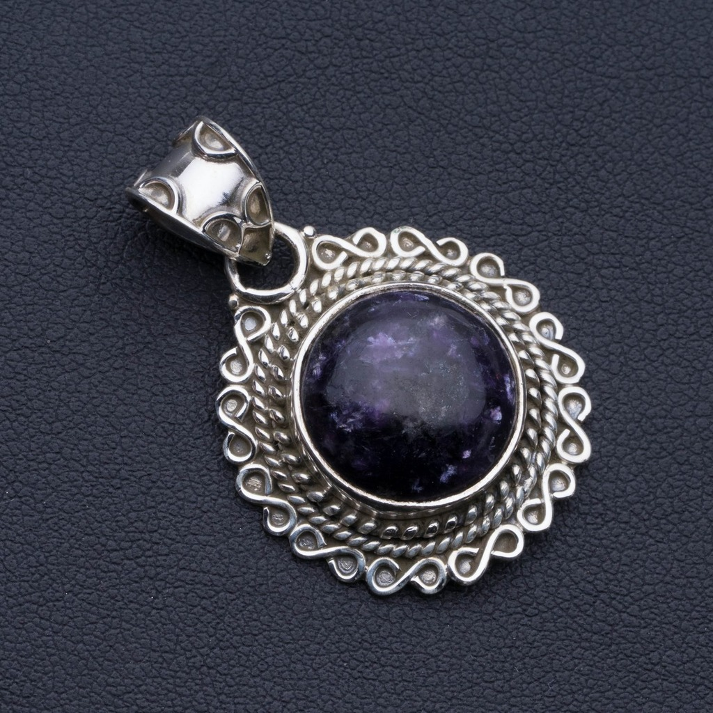 Natural Charoite Punk Style 925 Sterling Silver Pendant 1 1/2 P0671Natural Charoite Punk Style 925 Sterling Silver Pendant 1 1/2 P0671